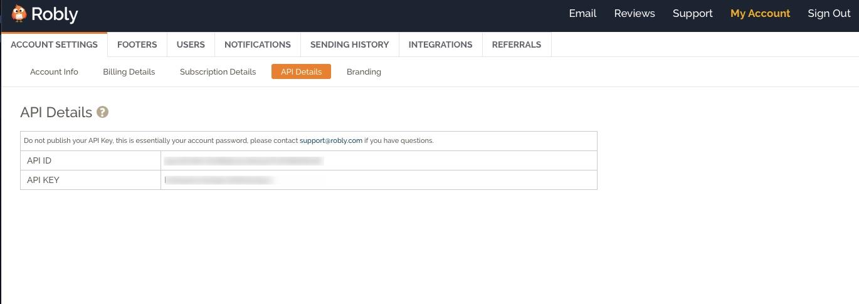 Robly API Details